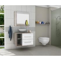 Gabinete Armário Banheiro Kit Completo Milão Branco/vanilla