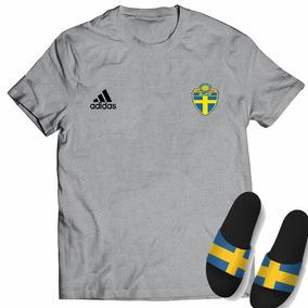 Kit Camisa + Chinelo Slide Seleção Suécia Copa Mundo 2018