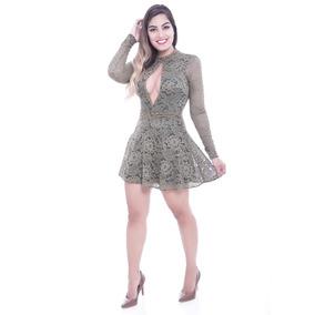 Vestido Rosa Fina Godê De Renda Com Pedrarias