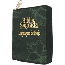 Bíblia Linguagem De Hoje Pequena - Capa Com Zíper Verde Folh
