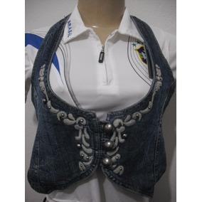 Blusa Colete Jeans Com Bordados Tam M Usado Bom Estado