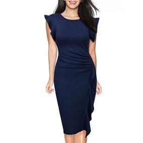 Miusol Vestido Para Negocios Retro Sleeve Slim Talla S Azul