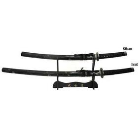 2 Espadas - 1 Metro / 80cm Samurai Ninja Katanas Com Suporte