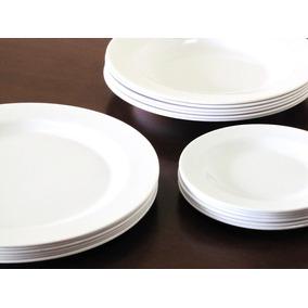 Jogo Jantar Melamina Plastico 24 Pratos Brancos