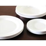 Jogo De Jantar Melamina Plastico 24 Pratos Brancos