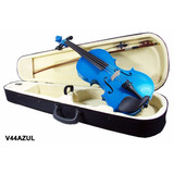 Violín De 4/4 Madera Color Azul Con Estuche