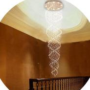 Lustre De Cristal Espiral Duplo Base 50 Cm 1,50 Até 2,15 Met