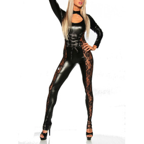 Mono Catsuit Pvc Encaje Body Enterizo