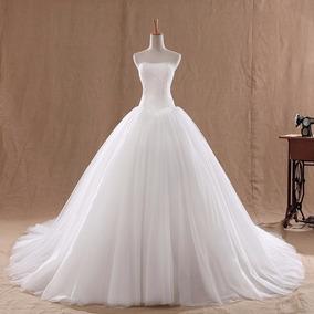 Hermoso Vestido De Novia Blanco Strapless Princess Encaje