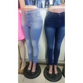 Pantalones Corte Alto Jeans De Damas