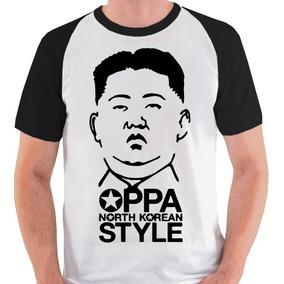 Camiseta Oppa Korean Coreia Norte Kim Camisa Blusa Raglan
