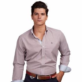 Camisa La C Lineas Vino Y Blancas