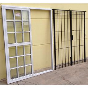 Puerta Ventana Balcon Vidrio Repartido Reja Abrir 150x200