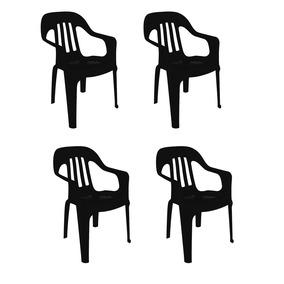 4 Sillas Plástico 82x55x55 Apoyabrazos Exterior Negro