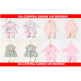 Kit Com 04 Macacões Vestido De Manga Longa Menina Rosa