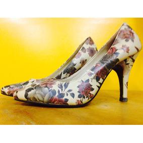 Zapatos Taco Alto Con Flores 37.5