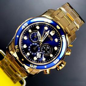 Relógio Invicta Pro Diver 0073 Original Dourado Ouro F. Azul