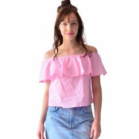 Blusa Mujer Algodón Con Olanes Rack & Pack Azul Y Rosa
