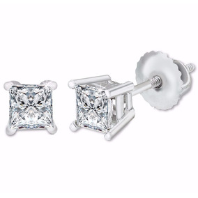 Aretes Diamante Natural Princess .74ct Gh Vs Oro 14kt Blanco