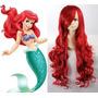 Peruca Vermelha Princesa Sereia Ariel Cosplay 70 Cm Promoção