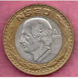 Moneda Veinte Pesos Conmemorativa 1993 Plata Hidalgo