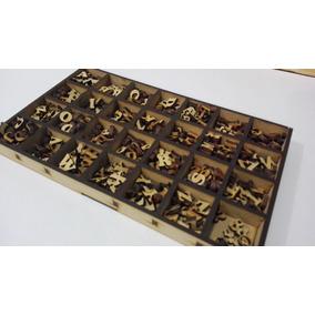 455 Letras De Fibrofacil De 1cm + Contenedor Mdf Madera