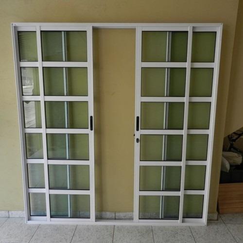 Porta Sacada Travesa 4.fls   Alum 2.10 X 2.00 Bca L-25 C/f
