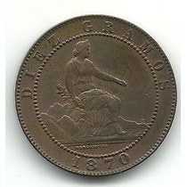 Espanha: Antiga Moeda De 10 Centimos 1870 Om Soberba