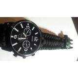 Reloj Táctico Militar - Negro - Kit Brujula- Cuerda- Silbato