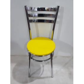Cadeira Promoção Cromada Tubular Estofada Sala Cozinha Top