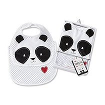 Bebé Aspen Panda Pal Babero Y Burp Set, Negro / Blanco / M