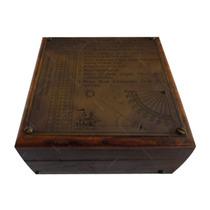 Caixa Em Madeira Náutica C/ Instrumentos Antigos