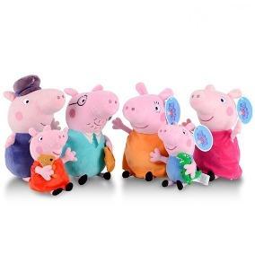 Peppa Pig E Familia + Vovô E Vovó Pig 6 Pelucias Originais