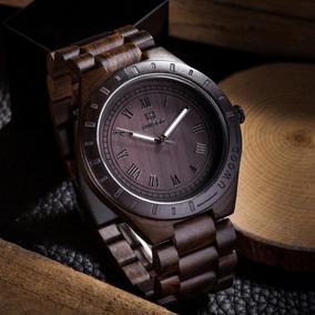 Reloj Exclusivo Madera Sandalo Para Hombres Café Oscuro