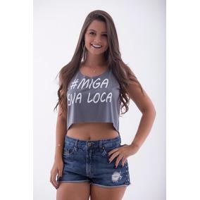 Cropped Regata Camiseta Miga Sua Louca - Camisaria Mammuth