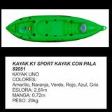 Kayak Bote Canoa Pesca Deporte Simple+remo Excelente Calidad