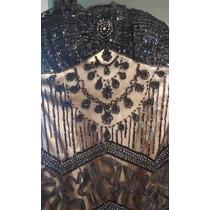 Vestido De Fiesta, Bordado En Canutillo Super Precio Negro