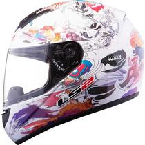 Casco Ls2 Ff352 350 Comic Gloss White Mujer Freeway Motos