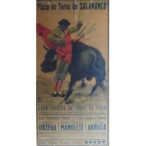 Cartel Taurino Antiguo De Manolete Autografiado Original