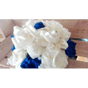 Ramo De Novia Vintage Flores Tela Azul Hermoso