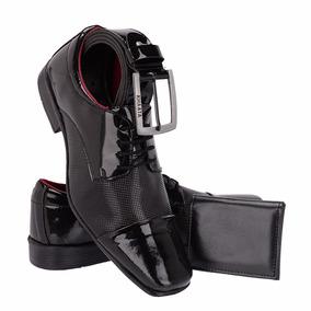 Sapato Social Masculino Em Verniz Mais Carteira E Cinto