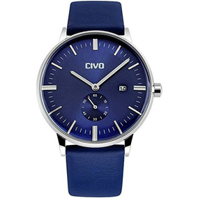 Civo Mens Simple Blue Leather Band Waterproof Wrist Watch Dr