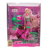 Boneca Kit Barbie Bicicleta Patins Roupa Sapato