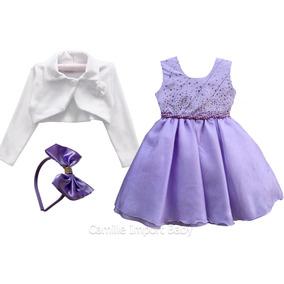 Vestido Princesa Sofia Luxo Festa Infantil E Tiara E Bolero