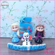 Vela Topo De Bolo Em Biscuit Frozen 2