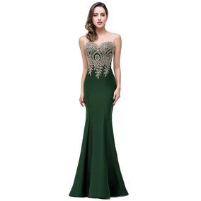 Vestidos de noche color verde jade