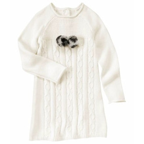 Vestido Sweater Tejido Trenzado Niña Talla 4 A Talla 14
