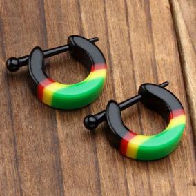 Brinco Masculino Argola Jamaica Tribal Reggae Bob Marley