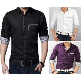Camisa Masculina Moda Manga Longa C/bolso Plus Size