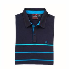 Camiseta Polo Victorinox De Manga Corta Azul Rayada